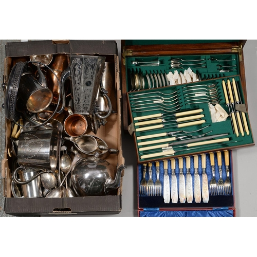 231 - MISCELLANEOUS EDWARDIAN AND LATER PLATED WARE,  TO INCLUDE AN OAK CANTEEN...
