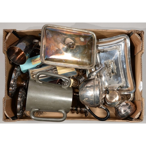 232 - MISCELLANEOUS PLATED WARE, INCLUDING NAPKIN RINGS, ENTREE DISHES, CANDLESTICKS, FLATWARE, ETC...