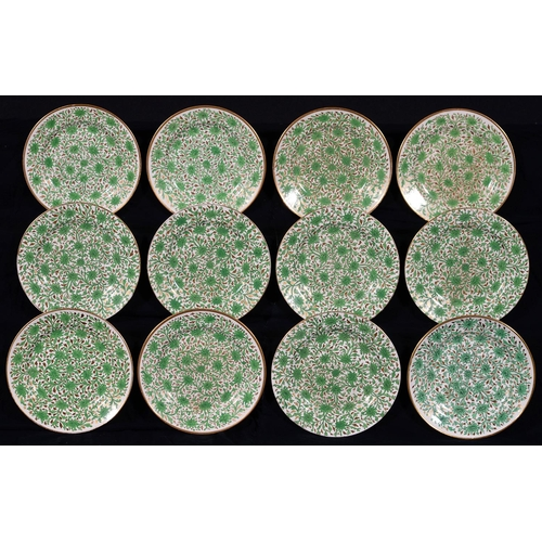 234 - TWO SETS OF FIVE AND SEVEN MATCHING SPODE EARTHENWARE DESSERT PLATES, C1810 AND LATER 19TH C, PRINTE...