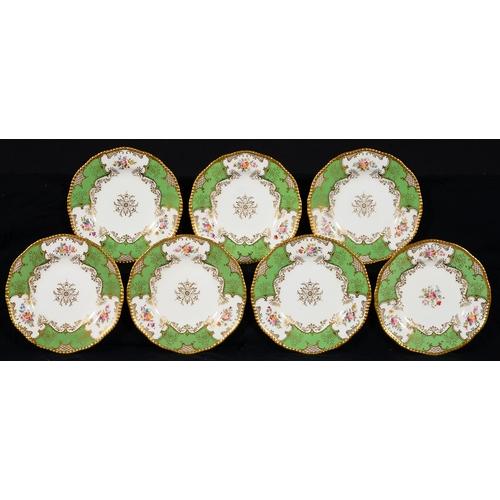 235 - SEVEN COALPORT APPLE GREEN BATWING PATTERN DESSERT PLATES, EARLY 20TH C, 23CM DIAM, PRINTED MARK, TW...