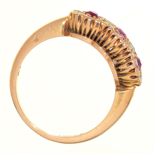 24 - A RUBY AND DIAMOND TRIPLE CLUSTER RING, IN 18CT GOLD, LONDON 1975, 5.1G, SIZE N½...