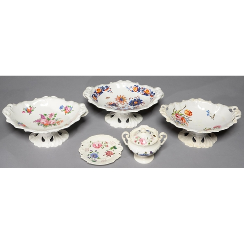 241 - ONE NEW HALL AND TWO MINTON BONE CHINA COMPORTS, C1824-26, OF SIMILAR DROPPED SHELL MOULDED SHAPE, ...