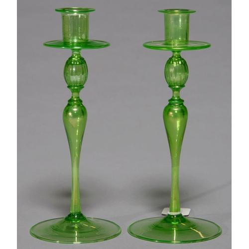 251 - A PAIR OF VENETIAN IRIDESCENT GREEN GLASS CANDLESTICKS, EARLY 20TH C, 25CM H...