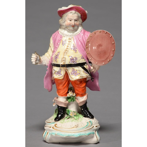256 - A DERBY FIGURE OF JAMES QUINN IN THE ROLE OF FALSTAFF, C1780, ON TURQUOISE AND GILT SHELL MOUND, 22C...