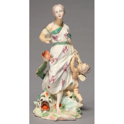 257 - A DERBY GROUP OF VENUS AND CUPID, C1770, THE GODDESS IN PUCE SPRIGGED DRESS HOLDING FORTH HER RIGHT ...