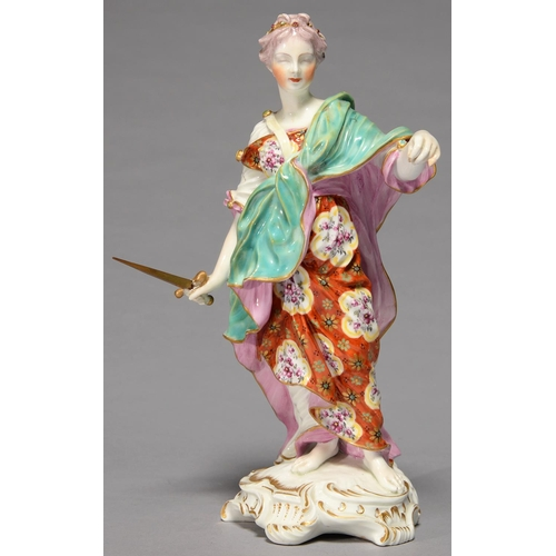258 - A DERBY FIGURE OF JUSTICE, C1780, IN PINK LINED TURQUOISE MANTEL AND FLOWERED ORANGE GOWN, STANDING ...