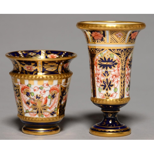 262 - TWO ROYAL CROWN DERBY IMARI AND WITCHES PATTERN VASES, 1909, OF BELL OR KRATER SHAPE, 75MM AND 10.5...