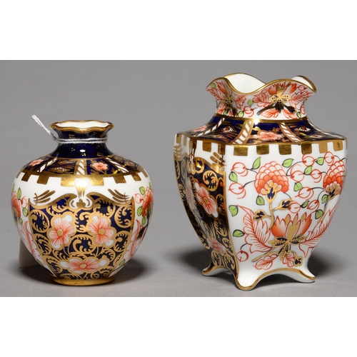267 - TWO ROYAL CROWN DERBY WITCHES PATTERN VASES, 1912 AND 19, 74 AND 96MM H, PRINTED MARK...