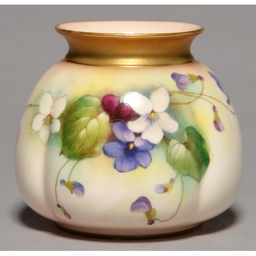 270 - A ROYAL WORCESTER SACK SHAPED VASE, 1912, PRINTED AND PAINTED WITH VIOLETS, 80MM H, PRINTED MARK...