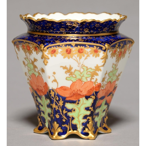272 - AN HEXAGONAL ROYAL CROWN DERBY VASE, 1899, DECORATED WITH POPPIES BETWEEN COBALT AND GILT BORDERS, 1...