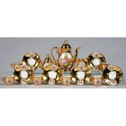 274 - A GERMAN GILT GROUND COFFEE SERVICE, CIRCA MID 20TH C, PRINTED AND PAINTED WITH 18TH C LOVERS, COFFE...
