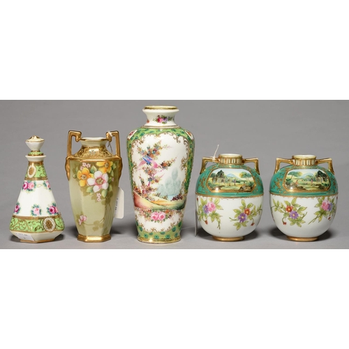 275 - TWO AND A PAIR OF NORITAKE PORCELAIN VASES AND A SCENT BOTTLE AND STOPPER, C1930, PAINTED WITH LANDS...