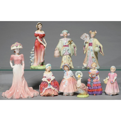 276 - A PAIR OF CONTINENTAL BISCUIT PORCELAIN ORIENTAL NODDING FIGURES, C1880, 18MM H, FIVE ROYAL DOULTON ...