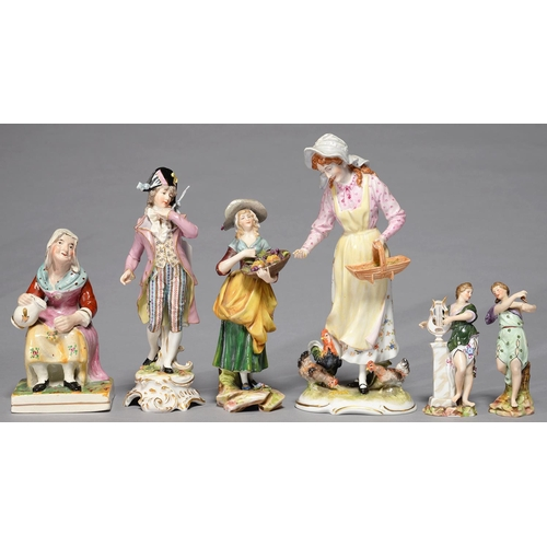 299 - FIVE VARIOUS CONTINENTAL PORCELAIN FIGURE, IN 19TH C, STYLE AND A STAFFORDSHIRE EARTHENWARE FIGURE...