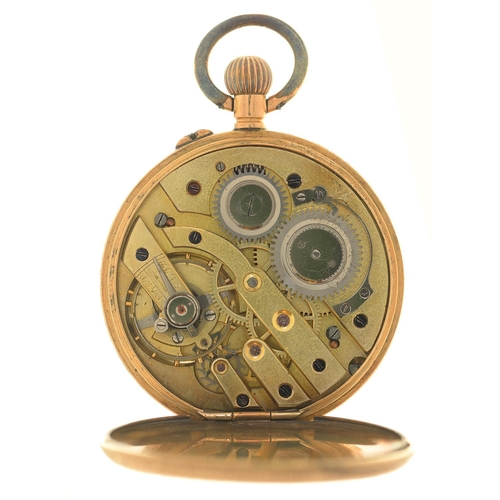 30 - A SWISS GOLD KEYLESS CYLINDER LADY'S WATCH, EARLY 20TH C, WITH ENAMEL DIAL, IN ENGRAVED CASE WITH PL...