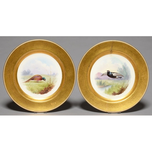 301 - A PAIR OF MINTON GAME BIRD PLATES,   PAINTED C1930, DECORATED WITH PHEASANT OR PTARMIGAN AND SIGNED ...