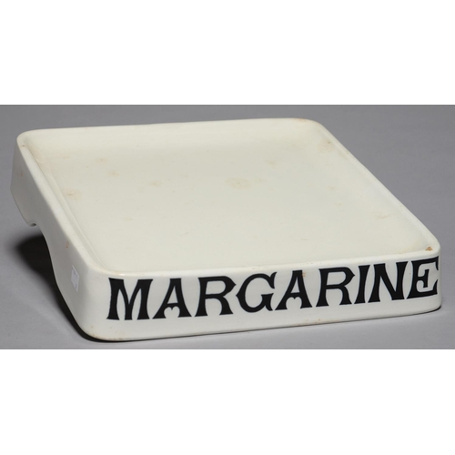 302 - AN ENGLISH WHITE EARTHENWARE SHOP KEEPER'S MARGARINE STAND, C1900, LETTERED IN BLACK MARGARINE, 35 X...