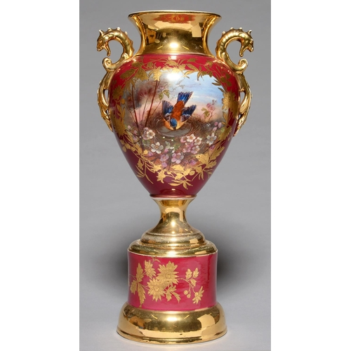 308 - A CLARET GROUND EARTHENWARE VASE AND PEDESTAL, C189-0, THE VASE PAINTED WITH A BIRD ON ITS NEST IN ...