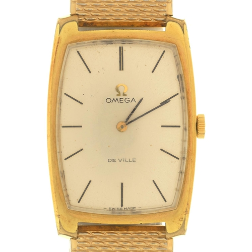 32 - AN OMEGA GOLD PLATED TONNEAU WRISTWATCH, DE VILLE, CALIBRE 620 MOVEMENT, NO 27442432, 25 X 38MM, ON ...