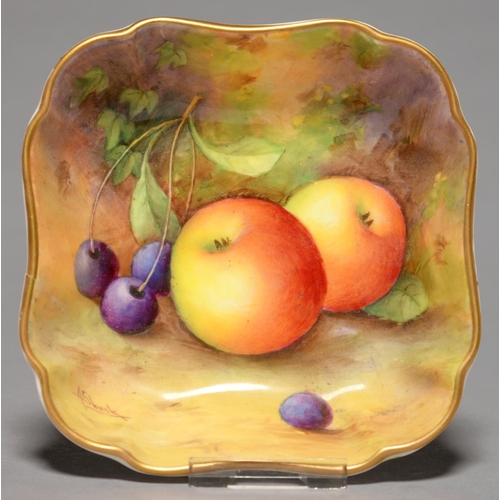 320 - A ROYAL WORCESTER SHAPED SQUARE DISH, 1935, PAINTED A SHUCK, SIGNED, WITH AN ALL OVER STILL LIFE WIT...