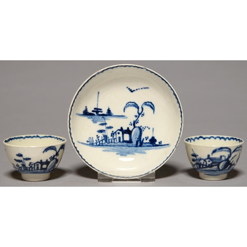 330 - A LIVERPOOL TOY OR MINIATURE BLUE AND WHITE SAUCER AND PAIR OF TEA BOWLS, JOHN AND JAMES PENNINGTON,...