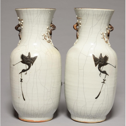 336 - A PAIR OF CHINESE CRACKLE GLAZED DRAGON VASES, EARLY 20TH C, 45CM H...
