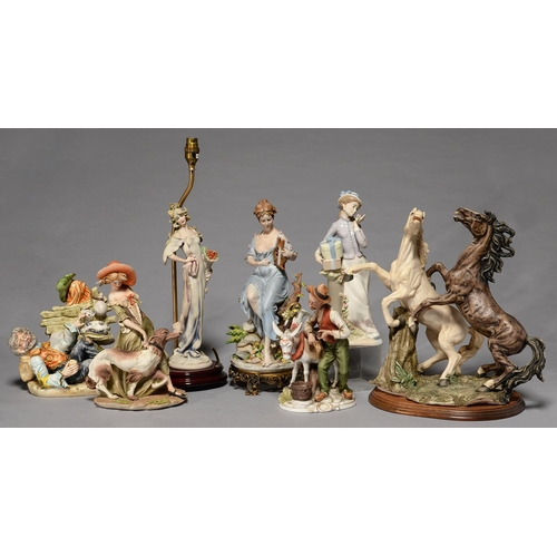 338 - SEVEN VARIOUS CAPO DI MONTE AND OTHER CONTINENTAL PORCELAIN AND RESIN FIGURES, TO INCLUDE A GROUP OF...