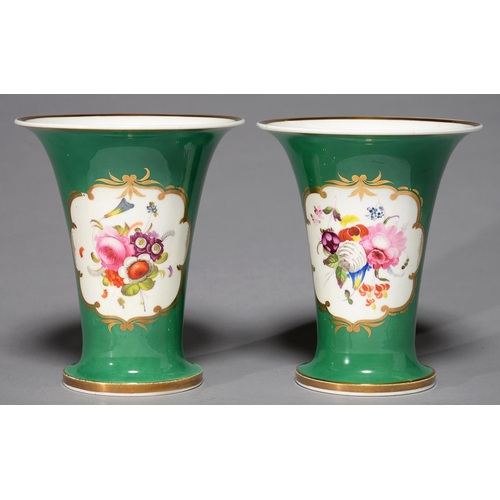 346 - A PAIR OF JOHN RIDGWAY GREEN GROUND VASES, C1825, OF FLARED FORM, PAINTED WITH FLOWERS IN A SCROLLIN...