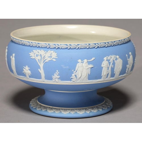 351 - A WEDGWOOD BLUE JASPER DIP FOOTED BOWL, LATE 19TH C, SPRIGGED WITH A CONTINUOUS SCENE OF CLASSICAL F...