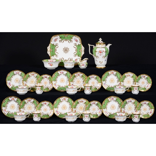 356 - A COALPORT GREEN BATWING PATTERN TEA AND COFFEE SERVICE, EARLY 20TH C, THE SERVICE INCLUDING WISH BO...