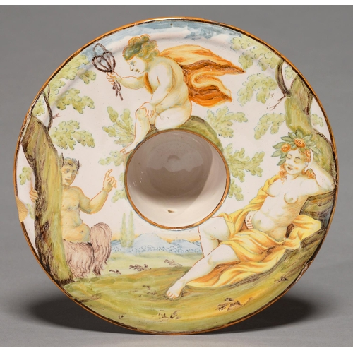 358 - A CASTELLI MAIOLICA TREMBLEUSE, MID 18TH C, PAINTED WITH A SATYR AND SEMI-NAKED SLEEPING NYMPH OBSER...