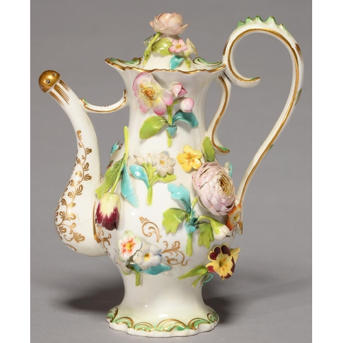 364 - A SAMUEL ALCOCK COALBROOKDALE FLORAL ENCRUSTED ROSEWATER EWER AND STOPPER, C1830-40, WITH LIGHTLY MO...