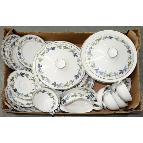 393 - A ROYAL DOULTON BONE CHINA BURGUNDY PATTERN DINNER SERVICE, C1870, PRINTED MARK...