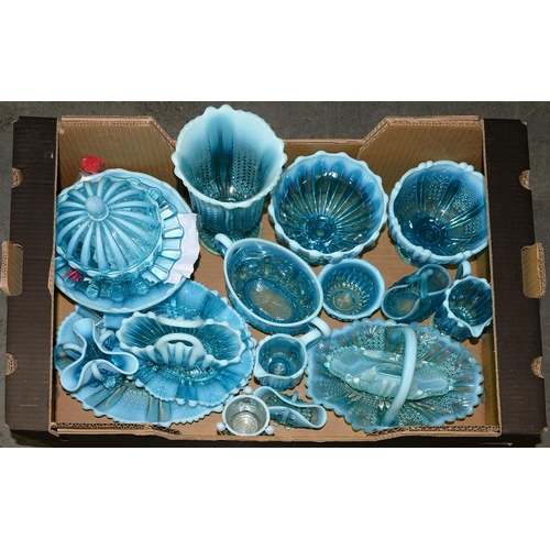 399 - A COLLECTION OF DAVIDSON BLUE PEARLINE PRESS MOULDED GLASS, LATE 19TH C (18)...