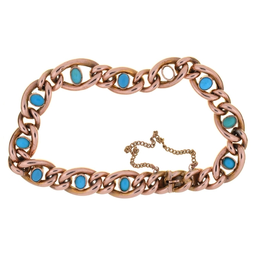 40 - AN  EDWARDIAN TURQUOISE SET GOLD CURB  BRACELET, C1910, 18CM L, MARKED 9, 10.3G...