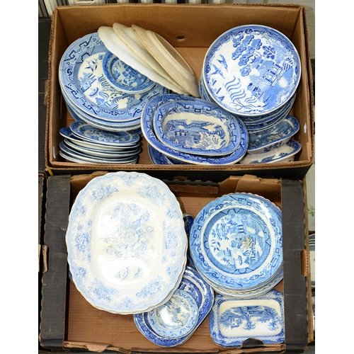 414d - AN EXTENSIVE COLLECTION OF MAINLY 19TH C BLUE PRINTED EARTHENWARE  WILLOW PATTERN PLATES AND DISHES,...