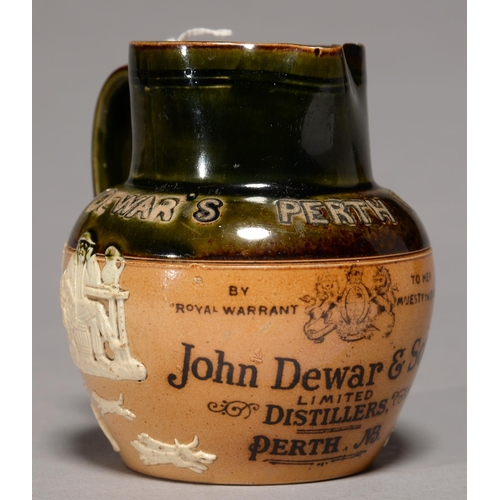 417 - ADVERTISING.  A DOULTON HUNTINGWARE JUG FOR JOHN  DEWAR'S & SONS LTD DISTILLERS PERTH,...