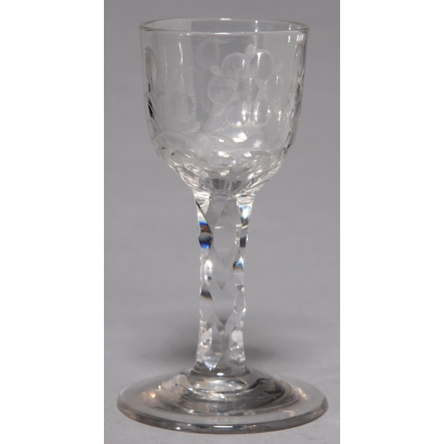 419 - A WINE GLASS, 19TH C, THE FACETED OGEE BOWL WITH JACOBITE ENGRAVING ON FACETED STEM AND SPREAD...