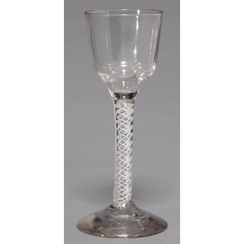 420 - A WINE GLASS, C1770, THE OGEE BOWL ON DOUBLE SERIES OPAQUE TWIST STEM AND CONICAL FOOT, 14.5CM...