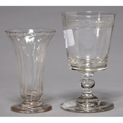 425 - A REGENCY GLASS RUMMER, C1810, THE BUCKET BOWL WITH ENGRAVED OAK LEAF AND ACORN BORDER, ON KNOPPED S...