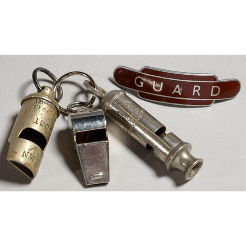 426 - A VICTORIAN NICKEL PLATED BRASS ROUND WHISTLE, J H HUDSON & CO, BIRMINGHAM DATED 1900, STAMPED G...