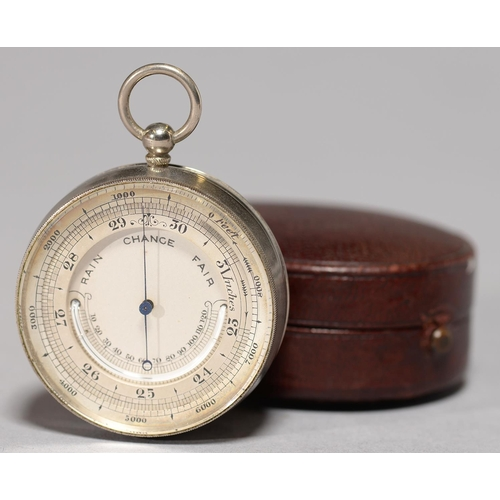 428 - A VICTORIAN SILVER PLATED POCKET BAROMETER, C1900, WITH MERCURY THERMOMETER, MILLED BEZEL, 48MM DIA,...