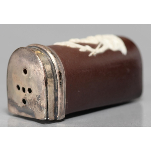 429 - A VICTORIAN WEDGWOOD TYPE BROWN GLAZED EARTHENWARE TOOTHBRUSH BOX WITH SILVER PLATED LID, C1870, SPR...