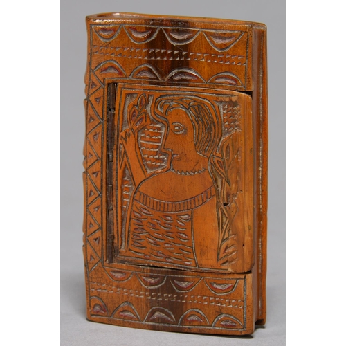 431 - FOLK ART. A BOOK SHAPED TREEN SNUFF BOX, NORTHERN EUROPEAN, 19TH C, THE LID CARVED WITH A PROFILE PO...