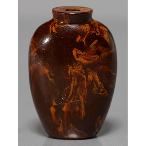 432 - A CHINESE AMBER SNUFF BOTTLE, 19TH C OR LATER, 65MM H...