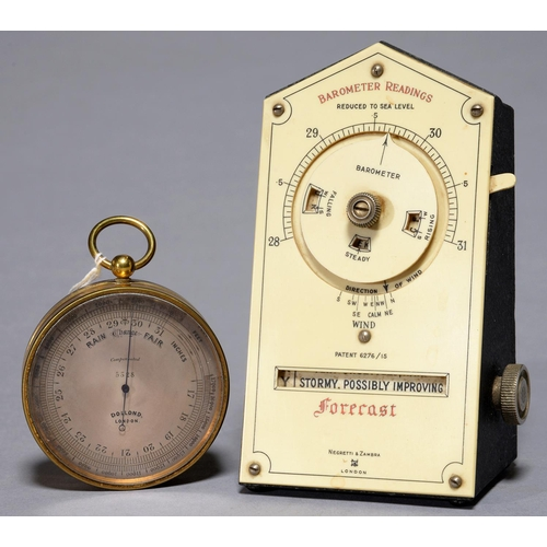 443 - A VICTORIANL BRASS POCKET BAROMETER, DOLLOND, LONDON, 5328 WITH SILVERED REGISTER AND FINE BLUED STE...