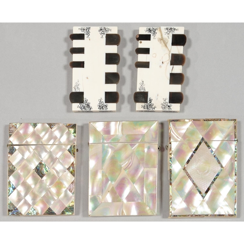 445 - A VICTORIAN MOTHER OF PEARL CARD CASE AND TWO CONTEMPORARY MOTHER OF PEARL AND ABALONE CARD CASES, O...