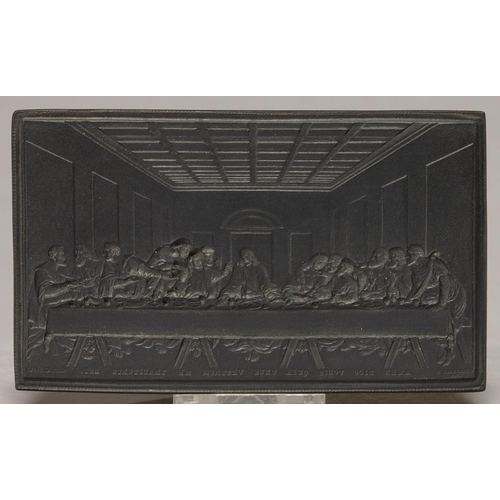 446 - A WEDGWOOD BLACK BASALT TABLET INTAGLIO (IN REVERSE), LATE 19TH C, 78 X 128MM, IMPRESSED WEDGWOOD...