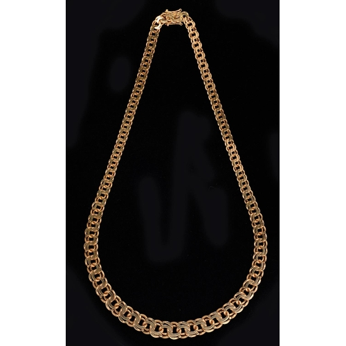 45 - A 9CT GOLD NECKLACE, 43CM L, BY S J ROSE & SON, LONDON 1971, 35.5G...