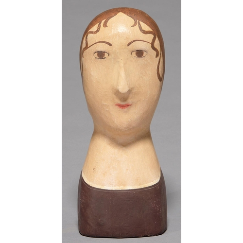 463 - MANNEQUIN. A FRENCH PAINTED PAPIER MACHE MAROTTE, EARLY 20TH C, 34CM H...
